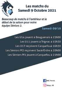 Matchs du 09 octobre 2021