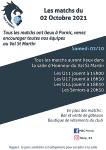 Matchs du 02 octobre 2021