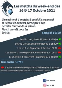 Matchs des 16 & 17 octobre 2021